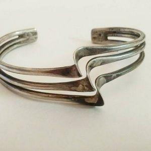 Vintage Sterling Silver bracelet 3 tier waves